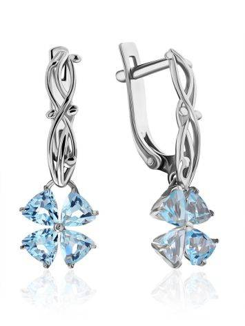 Chic Silver Topaz Floral Design Earrings, image