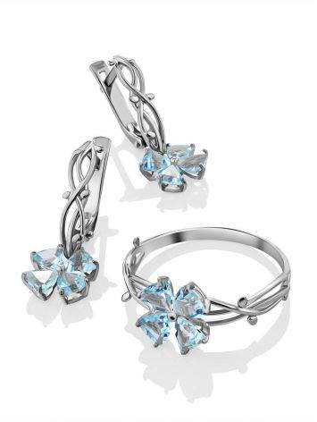 Chic Silver Topaz Floral Design Earrings, image , picture 4