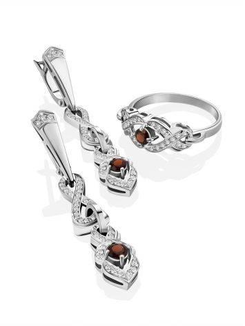 Vintage Style Silver Garnet Drop Earrings, image , picture 3