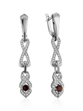 Vintage Style Silver Garnet Drop Earrings, image