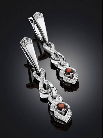 Vintage Style Silver Garnet Drop Earrings, image , picture 2