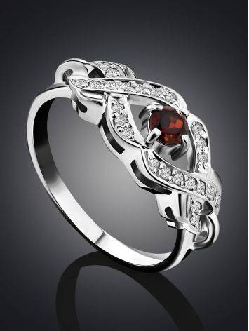 Vintage Style Silver Garnet Ring, Ring Size: 6 / 16.5, image , picture 2