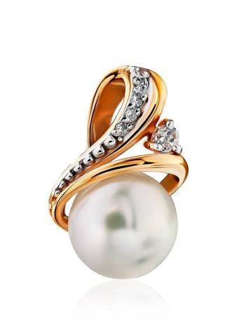 Refined Gilded Silver Pearl Pendant With Crystals, image