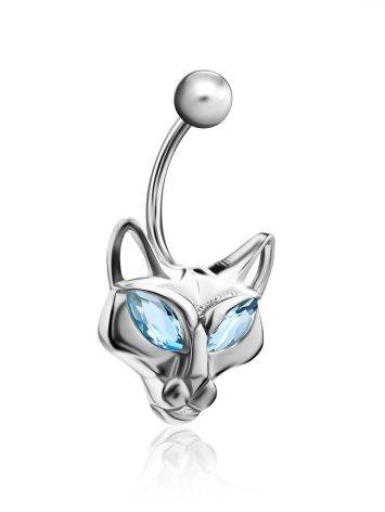 Catlike Design Silver Topaz Belly Button Ring, image , picture 3