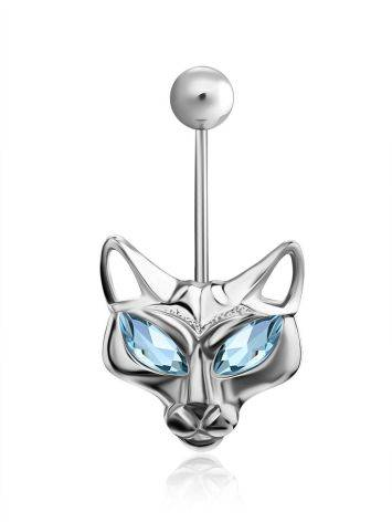 Catlike Design Silver Topaz Belly Button Ring, image