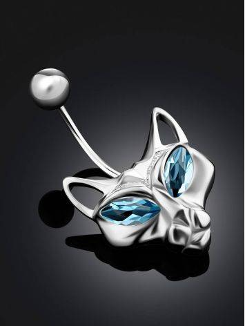 Catlike Design Silver Topaz Belly Button Ring, image , picture 2