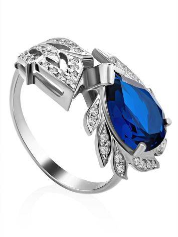 Feather Motif Silver Spinel Ring, Ring Size: 8 / 18, image