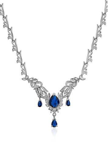 Fabulous Feather Motif Silver Spinel Necklace, image