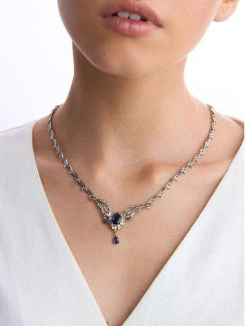 Fabulous Feather Motif Silver Spinel Necklace, image , picture 3