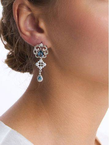 Gorgeous Silver Topaz Drop Earrings, image , picture 3
