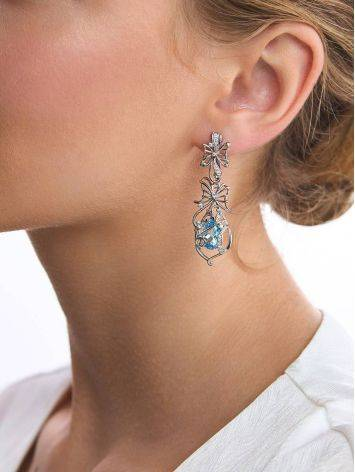 Exquisite Silver Topaz Dangle Earrings, image , picture 4