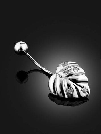 Leaf Motif Silver Crystal Navel Piercing, image , picture 2
