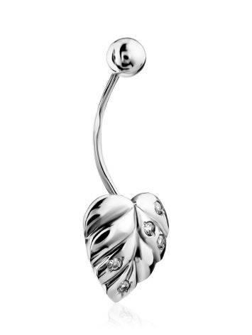 Leaf Motif Silver Crystal Navel Piercing, image