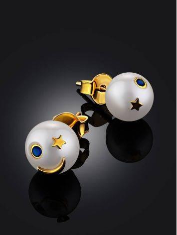 Cute Celestial Design Pearl Stud Earrings, image , picture 2
