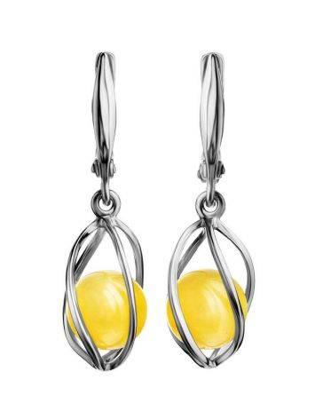 Honey Amber Earrings In Sterling Silver The Algeria, image