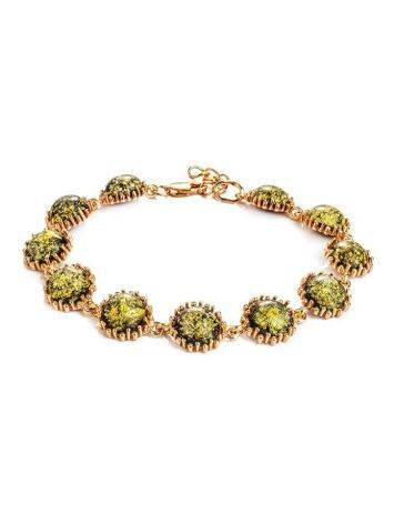 Link Amber Bracelet In Gold Plated Silver The Brunia, image