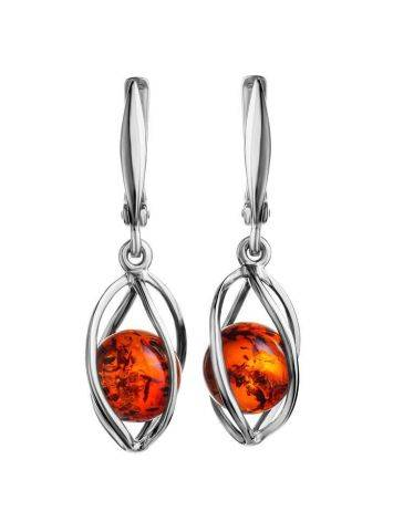 Sterling Silver Earrings With Cognac Amber The Algeria, image