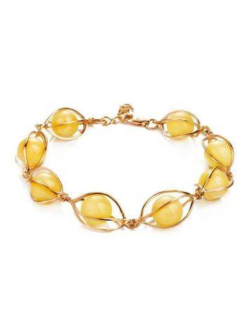 Gold Plated Bracelet With Honey Amber The Algeria, image