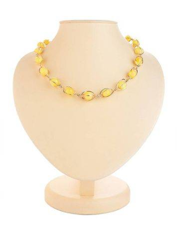 Honey Amber Necklace In Gold-Plated Silver The Algeria, image