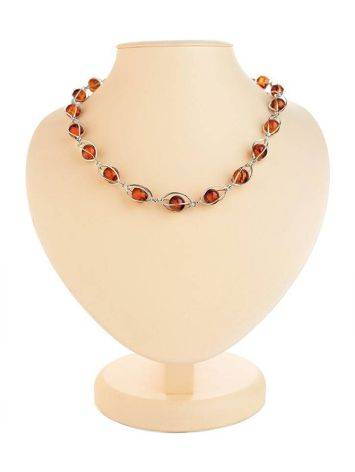 Cognac Amber Necklace In Sterling Silver The Algeria, image