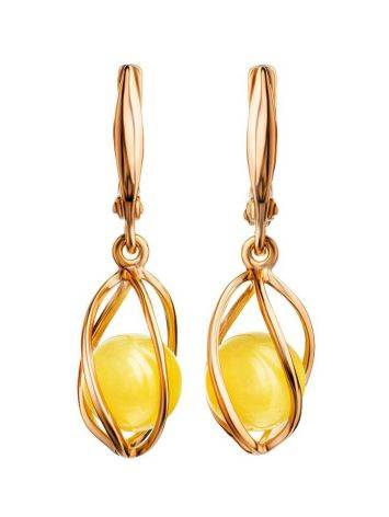 Drop Amber Earrings In Gold-Plated Silver The Algeria, image
