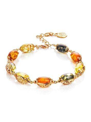 Link Amber Bracelet In Gold Plated Silver The Casablanca, image