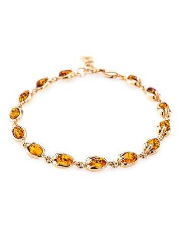 Link Gold Plated Bracelet With Cognac Amber The Astrid, image