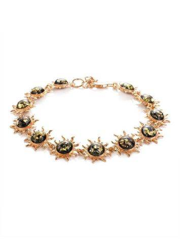 Link Amber Bracelet In Gold Plated Silver The Helios, image