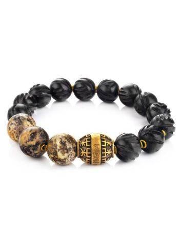 Black Amber Beaded Bracelet With Ebony Wood The Cuba, image