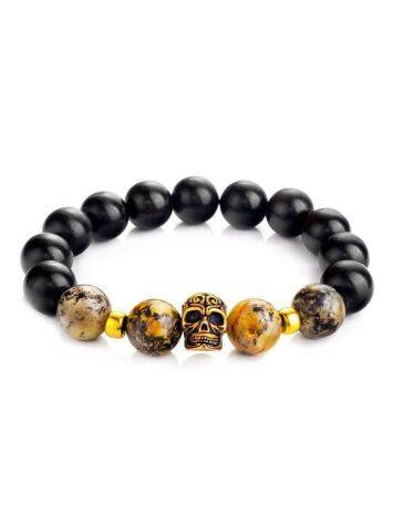 Black Amber Bracelet With Wooden Beads The Cuba, image