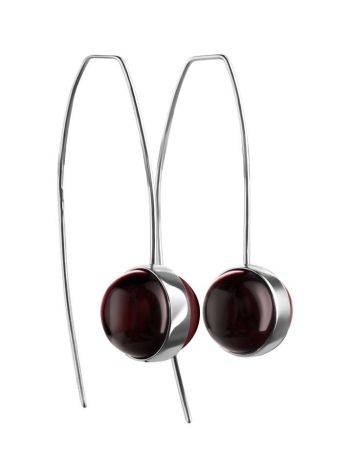 Cherry Amber Silver Threader Earrings The Sorbonne, image