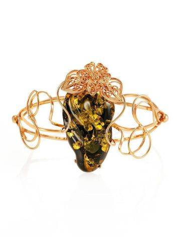 Handcrafted Amber Cuff Bracelet In Gold-Plated Sterling Silver The Dew, image