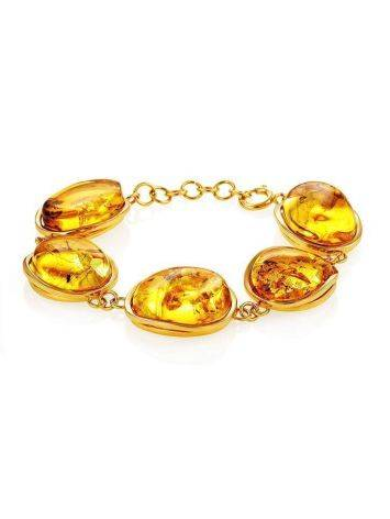 Link Amber Bracelet In Gold Plated Silver With Inclusions The Clio, image