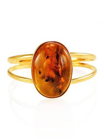 Cuff Amber Bracelet In Gold Plated Silver The Clio, image