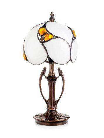 Cognac Amber Table Lamp With Brass, image