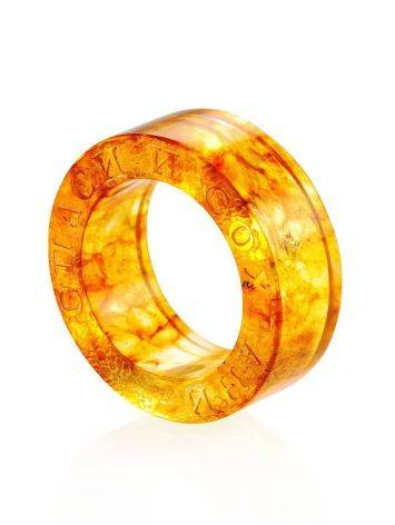 Engraved Amber Band Ring The Magma, Ring Size: 5.5 / 16, image