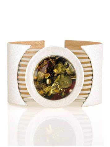 Handcrafted White Leather Bracelet With Green Amber The Amazon, image