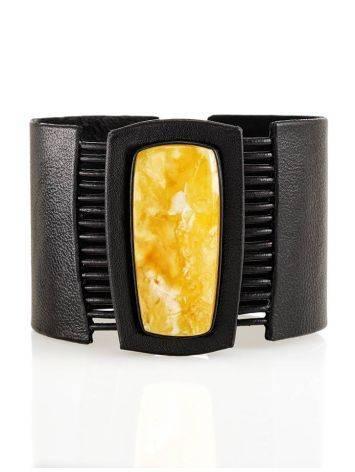 Handcrafted Dark Leather Bracelet With Honey Amber The Amazon, image
