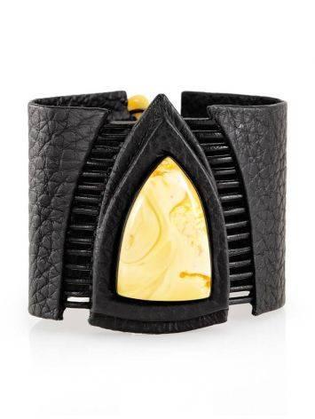 Dark Leather Bracelet With Honey Amber The Amazon, image