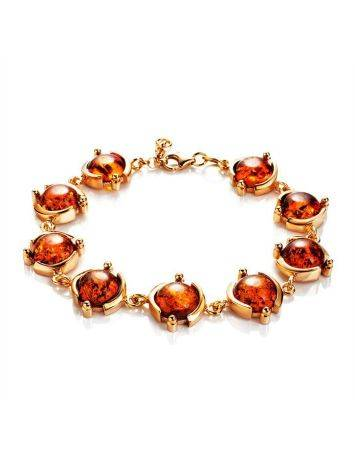 Link Amber Bracelet In Gold Plated Silver The Sphere, image