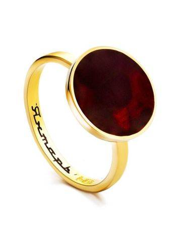 Gold-Plated Ring With Cherry Amber The Monaco, Ring Size: 5.5 / 16, image
