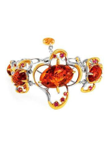 Gold Plated Bracelet With Cognac Amber And Crystals The Pompadour, image