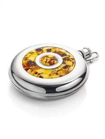 Stainless Steel Souvenir Flask With Amber Mosaic, image