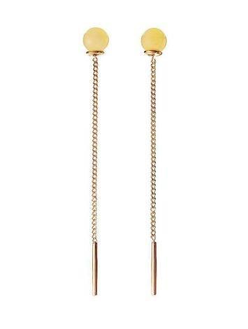 Honey Amber Earrings In Gold The Jupiter, image