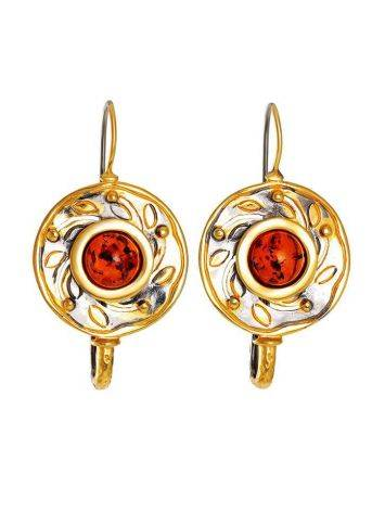 Cognac Amber Earrings In Gold Plated Silver The Aida, image