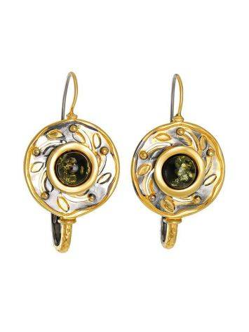 Green Amber Earrings In Gold-Plated Silver The Aida, image