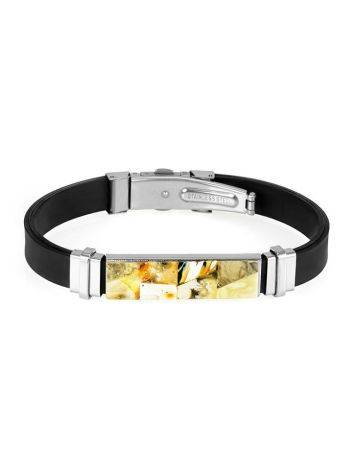 Rubber Mens Wristband With Amber Mosaic The Grunge, image