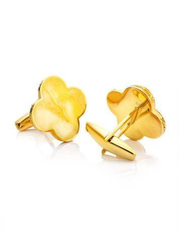 Clover Shaped Amber Cufflinks In Gold Plated Silver The Monaco, image
