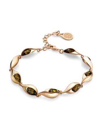 Link Amber Bracelet In Gold Plated Silver The Peony, image