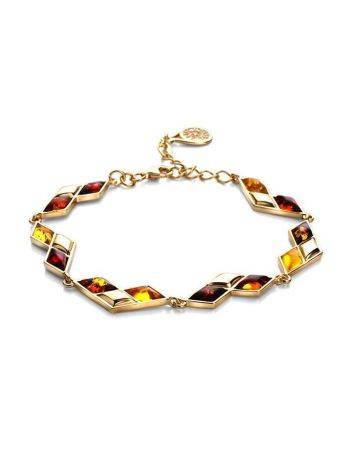 Multicolor Amber Bracelet In Gold Plated Silver The Colombina, image